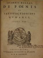 `De Poenis et satisfactionibus humanis ( О наказаниях людей)` IOANNIS DALLAEI. 1649г. Амстердам