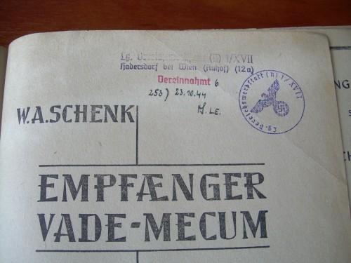 `EMPFAENGER VADE-MECUM` W.A.SCHENK. БЕРЛИН 1942