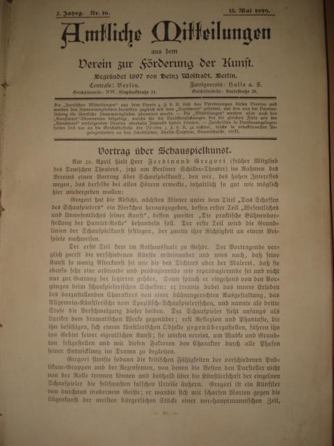 `kunstwart` . 1899 германия