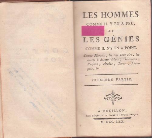 `Les Hommes. Les genies. Мужчины. Гении` . Франция. Балонская типограф. комп. 1770 год.