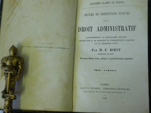 `«Resume De Repetitions Ecrites sur le Droit Administratif»` M.F.Boeuf. 1868 Paris