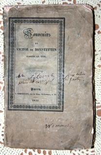 `Воспоминания Л.C. Виктора Бонштеттена, написанные в 1831 (Souvenirs de Ch. Victor de Bonstetten ecrites en 1831)` Виктор де Бонштеттен. Париж, Цюрих, 1832 г.