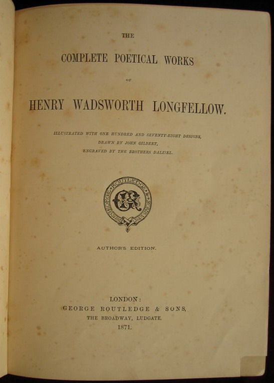 `Poetical works` H.Longfellow. 1871  Лондон