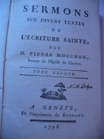 `Sermons par Mouchon tom II` M. Pierre Mouchon. 1798