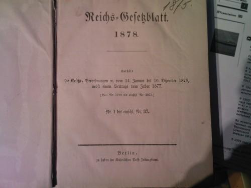 `reichs gesatzblatt` . 1878 Германия, Берлин