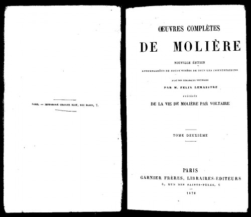 `la vie de moliere par voltaire` Мольер 2 том. 1878 г. Париж