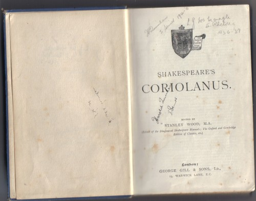 `SHAKESPEARE`S CORIOLANUS.` STANLEY WOOD, M.A.. May, 1906  London