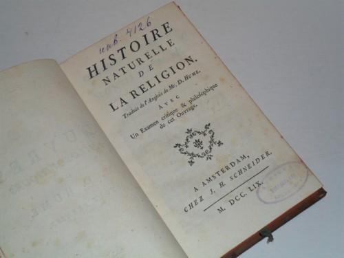 `Histoire naturelle de la religion.` David Hume. Амстердам, M.DCC.LIX.
