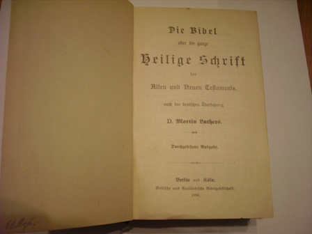`Библия на немецким языке` . 1896 Берлин
