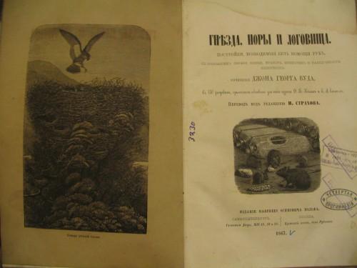 `Гнезда норы и логовища` Джон Георг Вуд. 1867 с-петербург