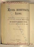 `Жизнь животных` А.Э.Брэм. Спб., типография тов-ва «Просвещение», 1903-1904